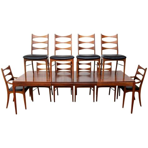 walnut dining room table ten chairs