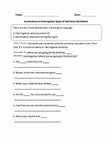 Exclamatory Or Interrogative Types Of Sentences Worksheet