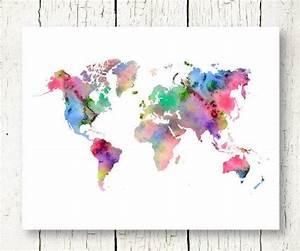 Carte Du Monde Design : monde carte aquarelle imprimable monde aquarelle carte ~ Teatrodelosmanantiales.com Idées de Décoration