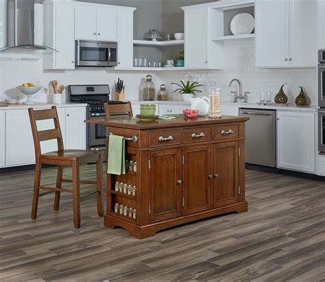 country kitchen island  drop leaf   stools