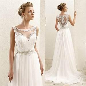 2016 new sleeveless lace illusion neckline plus size With plus size lace wedding dresses