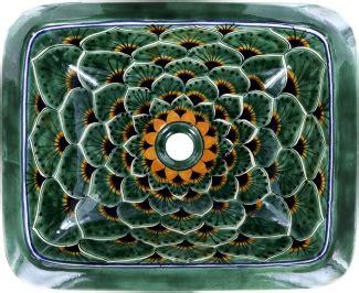 green peacock talavera rectangular drop  bathroom sink