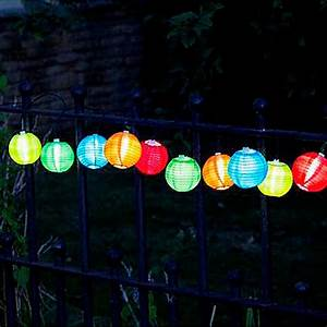 Guirlande Solaire 10 Lanternes Chinoises Couleur Sur