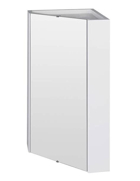 Lauren High Gloss White Wall Mounted Corner Mirror Cabinet