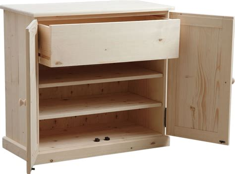 caisson de rangement bureau meuble à chaussures 3 étagères 1 tiroir en bois brut