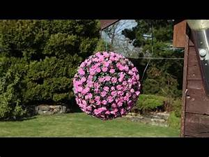How To Make Hanging Flower Balls Out Of Tissue Paper Pink Flower Solar Topiary Ball Fl 2310 Youtube