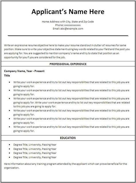 free printable resume templates for microsoft word
