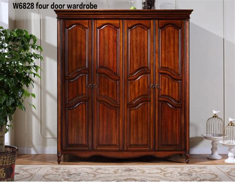 Buy Wooden Wardrobe by W6828 Luxury Antique Solid Wood 4 Door Wardrobe Armoire
