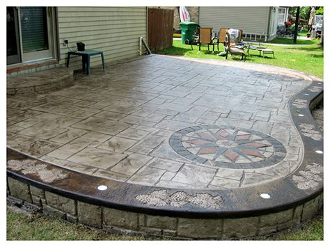 sted concrete patios vine grape border with lights