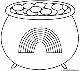Coloring St Pot Gold Patrick Rainbow Patricks Pots sketch template