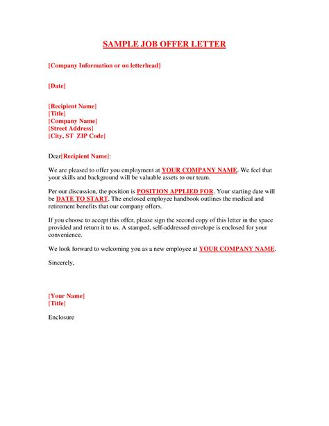 sample job offer letter template templates