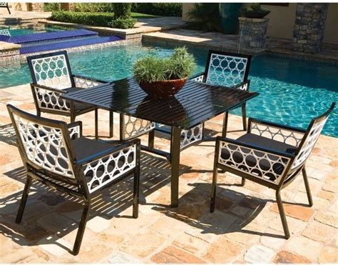 aluminum outdoor dining table and chair set modern