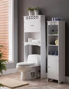 Lichfield, 2, Piece, Bathroom, Storage, Set, White, Wood, Tower, Cabinet, U0026, Over, The, Toilet, Rack