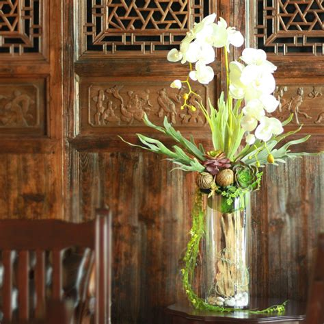 VFM0018 / Orchids with glass Vase | แจกัน, ต้นไม้