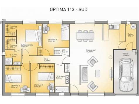 plan maison 3 chambre plain pied plan maison plain pied 3 chambres 110m2