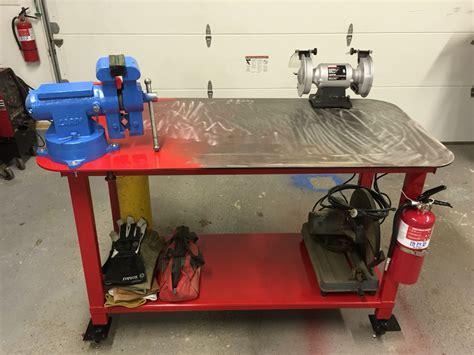 welding table home built  plate top adjustable