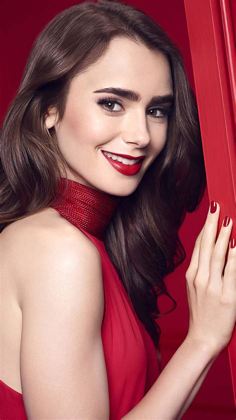 lily collins  red dress   ultra hd mobile wallpaper