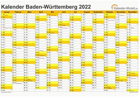 Kalender 2020 baden wurttemberg ferien feiertage excel. Feiertage 2022 Baden-Württemberg + Kalender