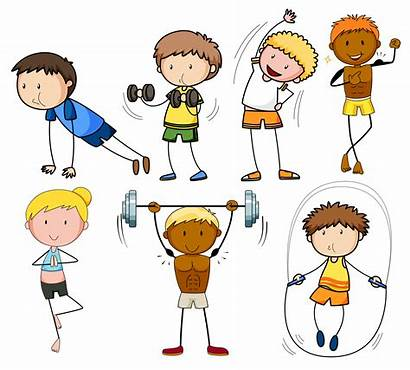 Exercise Clipart Vector Doodle Kid Fitness Illustration
