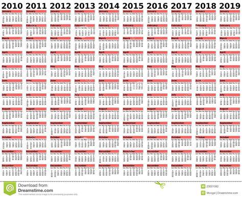 decade calendar stock vector illustration