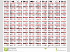 20102019 De Kalender Van Het Decennium Vector Illustratie