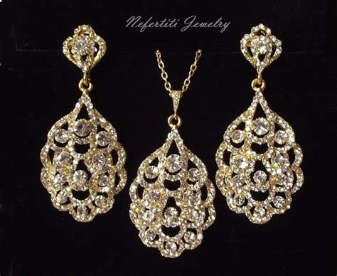 Wedding Jewelry Gold : Gold Bridal Jewelry Set, Crystal Wedding Jewelry Set