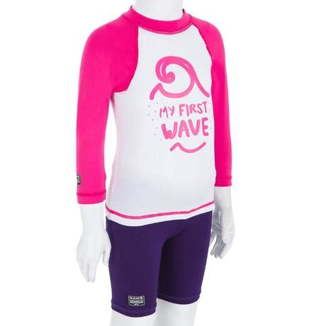 babys long sleeve uv protection surfing top  shirt white pink recycled nabaiji