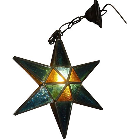 stained glass hanging light fixture leaded stained glass star pendant light fixture from