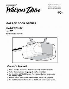 Chamberlain Garage Door Opener Manual Whisper Drive
