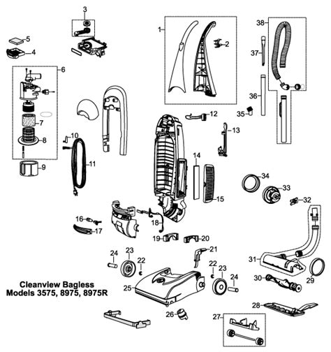 bissell 3575 8975 cleanview bagless upright vacuum parts usa vacuum