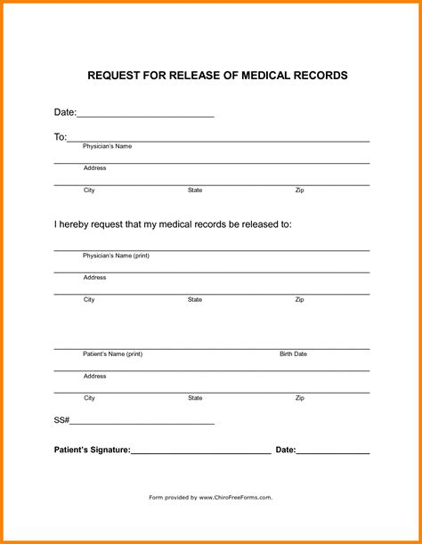 blank medical release form 9 blank medical records release form dialysis nurse