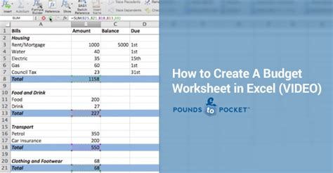 pound place how to create a budget worksheet in excel