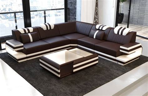 Modern Leather Sofa Hollywood With Led Gblack-white