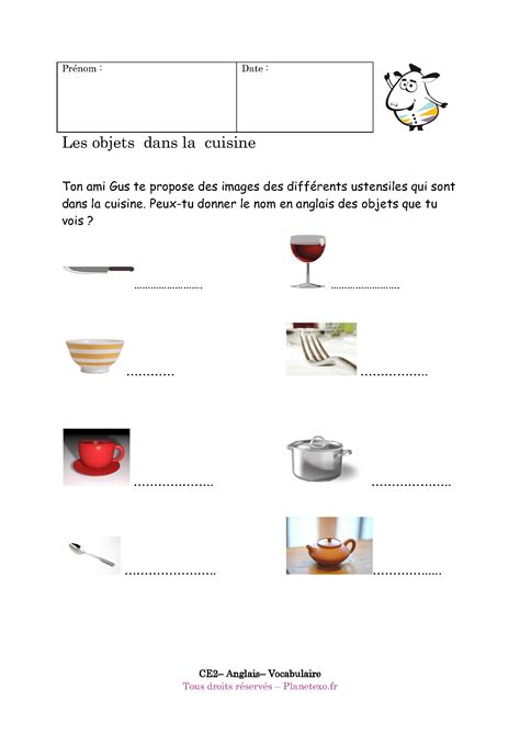 cuisiner traduction anglais accessoires de cuisine en anglais
