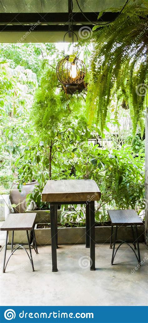 Buy online at low price from thespiceclub.in. Vertical, Wooden Table With Legs Made Of Steel, Inside The Coffee Shop With Trees And Ferns ...