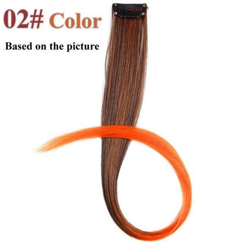 Single Clip Hair Extensions Synthetic Long Straight Ombre