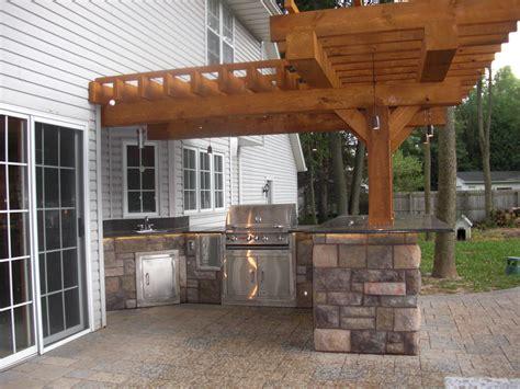 Patio Bar by Treated Lumber Pergola Masonry Block Outdoor Grill Bar