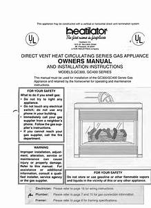 Direct Vent Heat Circulating Series Gas Appliance Owners