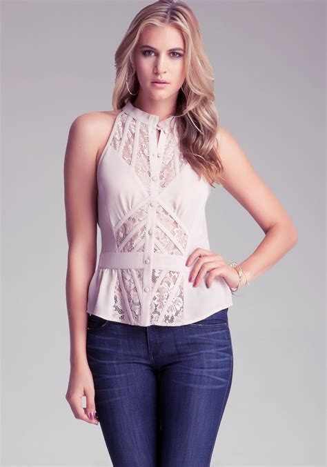sleeveless button blouse bebe sleeveless lace button up blouse in pink lyst