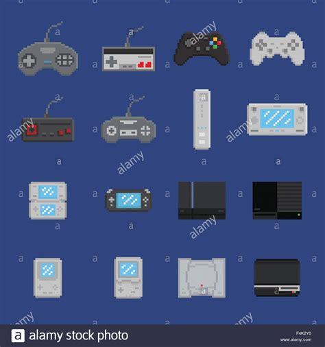 Pixel Art Game Design Icon Set Console Gamepad