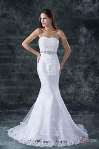 Lace White Beach Wedding Dresses Elegent Mermaid/trumpet ...