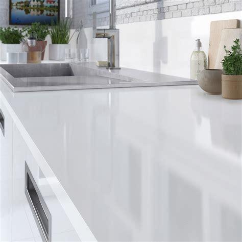cuisine ikea blanc laqué plan de travail stratifié blanc brillant l 315 x p 65 cm