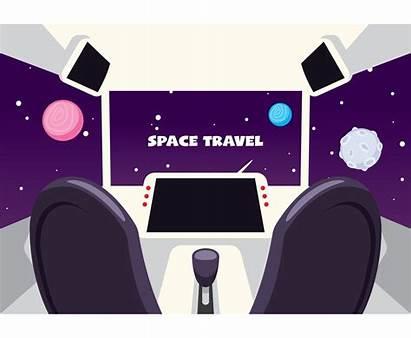 Spaceship Interior Futuristic Vector Cockpit Ship Space