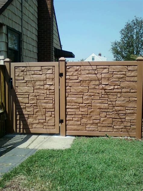 foot desert sand color vinyl stone fence  gate installed  liberty fence railing
