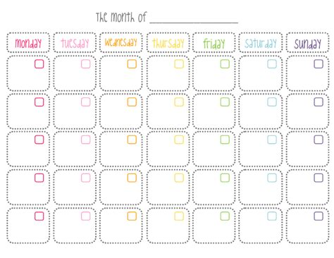 Cute Blank Monthly Calendar Printable