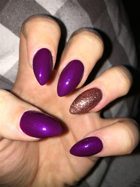 gelnägel glitzer purple stiletto bronze glitter acrylic nails nails