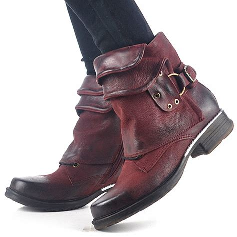 ladies short biker boots wine red genuine leather women ankle boots punk style