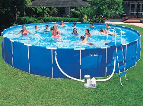 24' Round Intex Metal Frame Aboveground Swimming Pool Kit