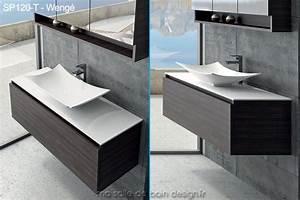 large meuble a tiroir de 120cm avec vasque coupelle design With salle de bain design avec meuble salle de bain vasque bois