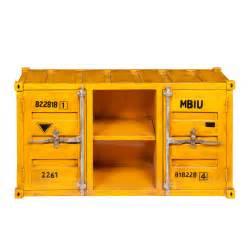 designer beistelltisch tv lowboard im container design aus metall b 129 cm gelb carlingue carlingue maisons du monde